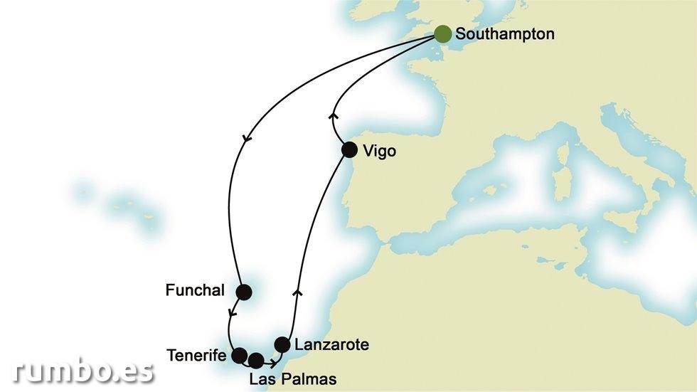 ISLAS CANARIAS Y ATLÁNTICO desde Southampton