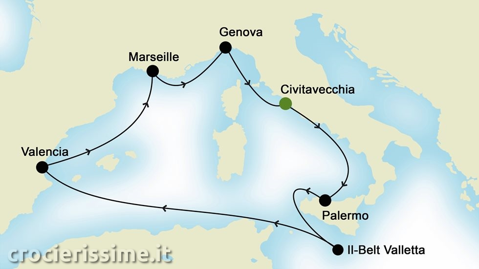MEDITERRANEO OCCIDENTALE da Civitavecchia