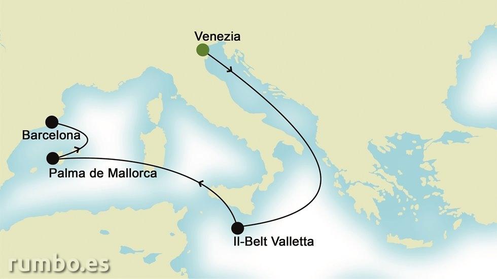 MEDITERRÁNEO DE ESTE A OESTE desde Venecia